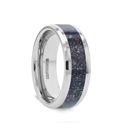 Tungsten wedding band with beveled edges and black dinosaur bone inlay