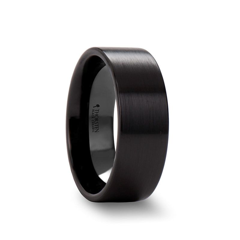 Black Ceramic pipe cut wedding ring with brushed finish