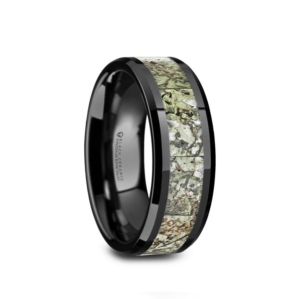 Ceramic wedding band with beveled edges and light green dinosaur bone inlay