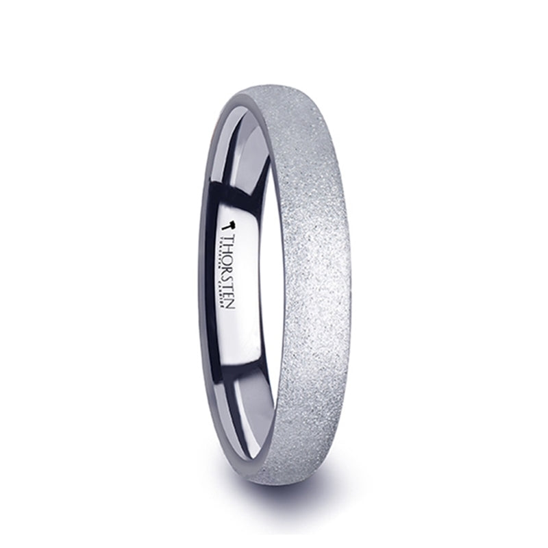 Tungsten Carbide domed wedding ring with sandblasted crystalline finish