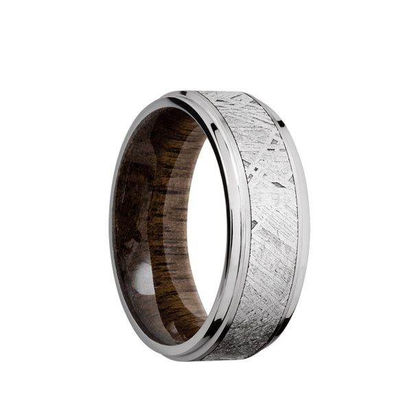 Cobalt Chrome men's wedding band with 5mm of meteorite inlay and flar, grooved edges featuring a Walnut sleeve.