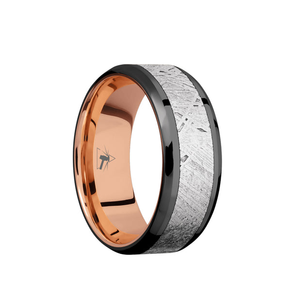 Black Zirconium men's wedding band with 5mm of meteorite inlay and beveled edges featuring a 14K rose gold sleeve.
