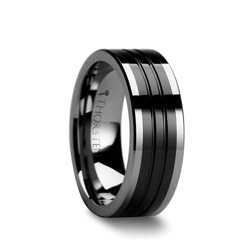 Tungsten Carbide men's wedding ring with grooved design and black ceramic inlay.