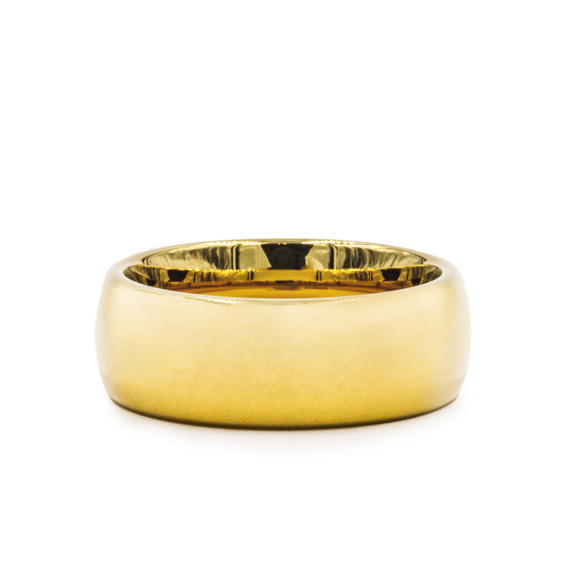 Gold Plated Tungsten Carbide domed wedding ring with polished finish