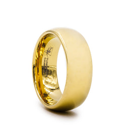 Gold Plated Tungsten Carbide domed wedding ring with polished finish.