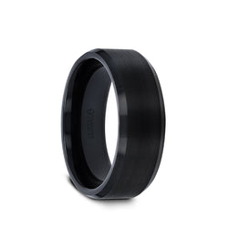 Black Tungsten Carbide men's wedding ring with brushed center and polished beveled edges.
