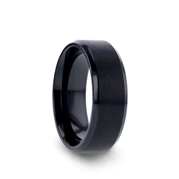 Black Titanium wedding ring with brushed finish center and beveled edges.