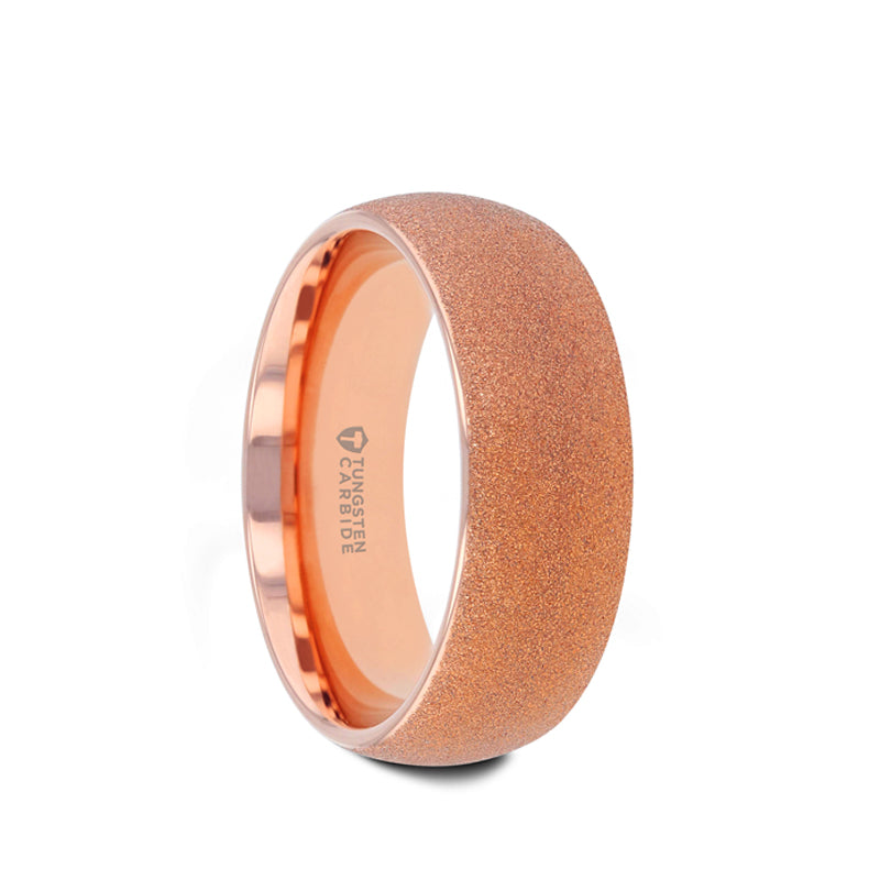 Rose gold plated tungsten carbide domed wedding ring with sandblasted crystalline finish