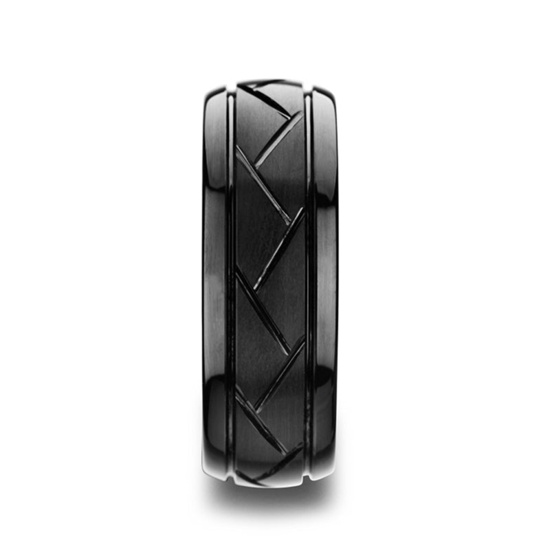 Tungsten Carbide wedding ring with brushed black center and cross-alternating diagonal cuts
