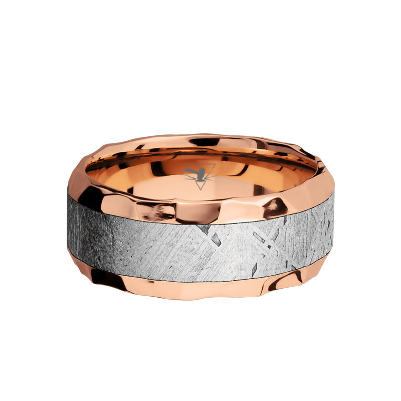14K Rose Gold men's wedding band with 5mm of meteorite inlay and hammered, beveled edges.