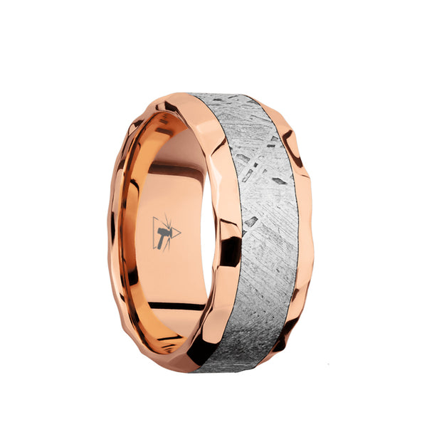 14K Rose Gold men's wedding band with 5mm of meteorite inlay and beveled edges.