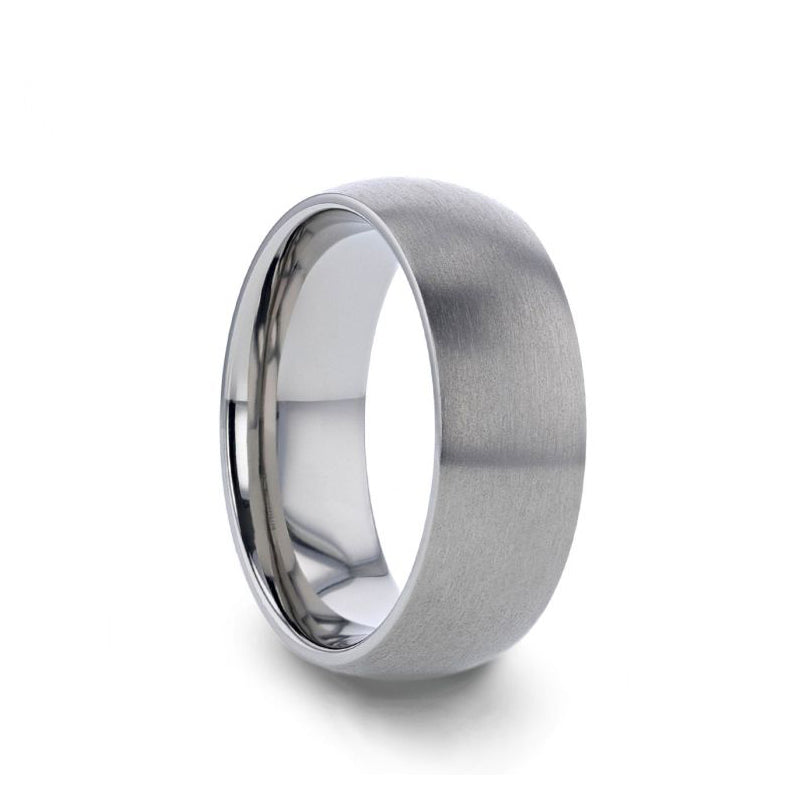 Titanium domed wedding ring with brushed finish