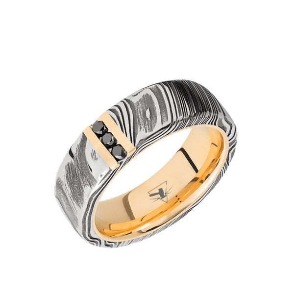 Damascus domed men's wedding band with a with a 14K yellow gold vertical inlay and sleeve featuring black diamonds.