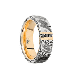 Damascus men's wedding band with a 14K Yellow Gold vertical inlay and sleeve featuring a black diamonds.