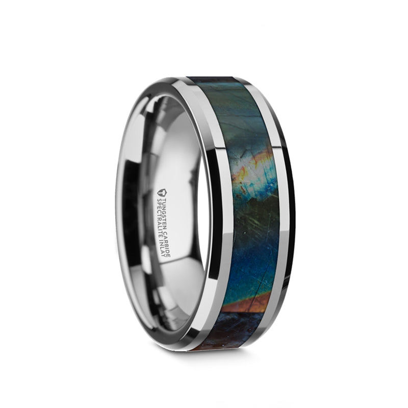 Tungsten wedding band with beveled edges and spectrolite inlay