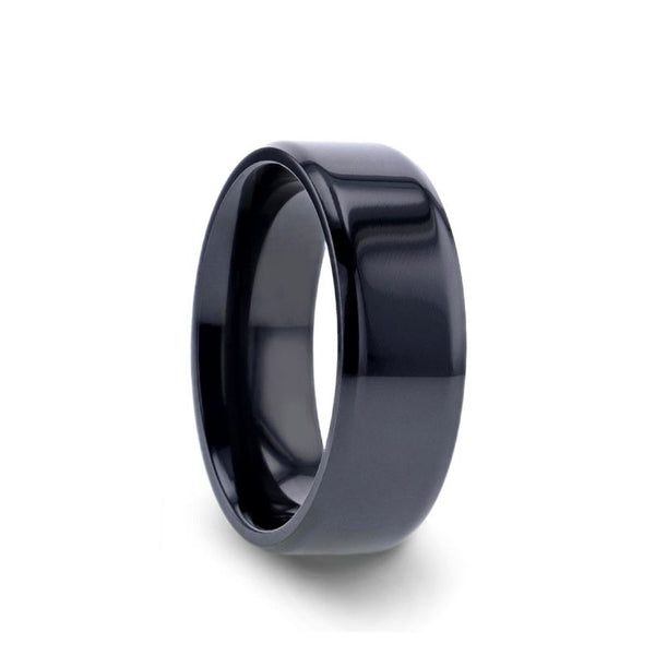 Black Titanium men's wedding ring with polished finish and beveled edges.
