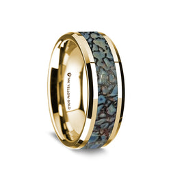 14K Gold wedding band with blue dinosaur bone inlay and beveled edges.