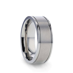 Titanium men's wedding ring with dual grooves and a flat satin finish.