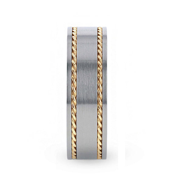 Titanium flat men's wedding ring with two braided 14K gold inlay and brushed finish.