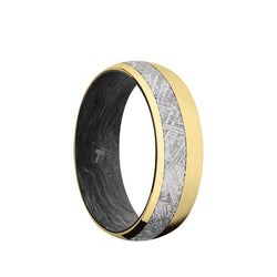 10K Gold domed men's wedding band with 3mm of meteorite inlay featuring a forged carbon fiber sleeve and a satin brushed finish