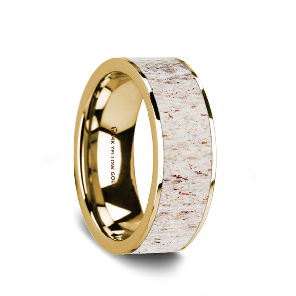 14K Gold flat wedding ring with antler inlay