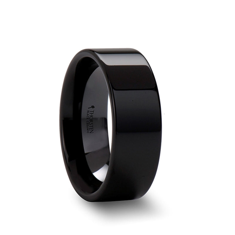 Black Ceramic pipe cut wedding ring with polished finish
