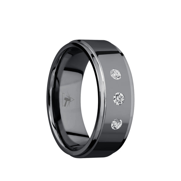 Tantalum men's wedding band with an arrangement of 3 lab grown .07 carat diamonds featuring a polished finish