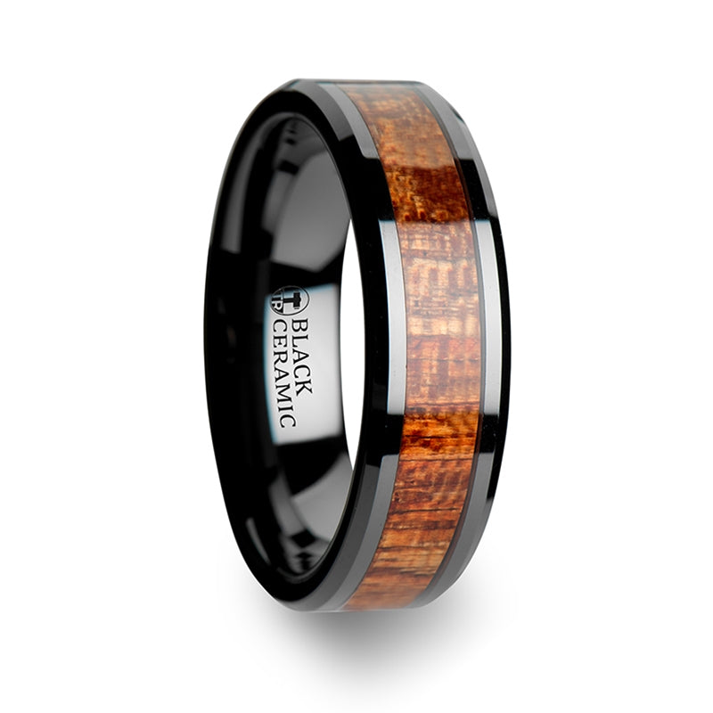 Black Ceramic men's wedding ring with mahogany hard wood inlay and beveled edges