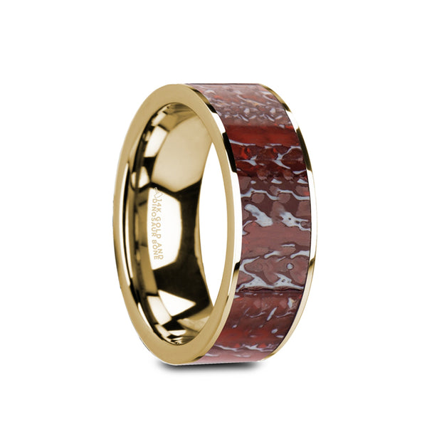 14K Gold flat wedding band with red dinosaur bone inlay and polished finish