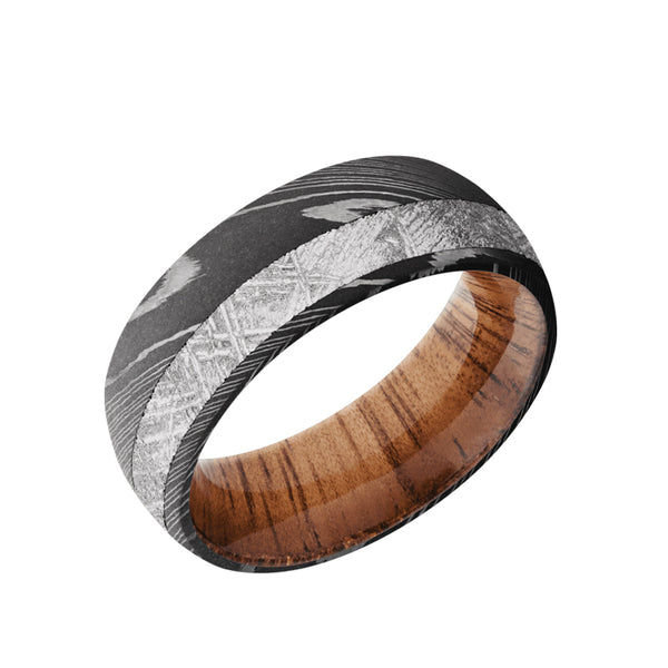 Damascus domed men's wedding band with 3mm of meteorite inlaid off center featuring a Koa wood sleeve
