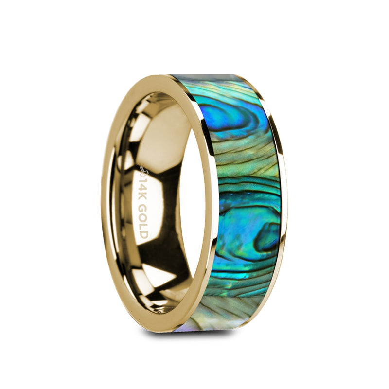 14K Gold flat wedding ring with mother of pearl inlay with polished finish