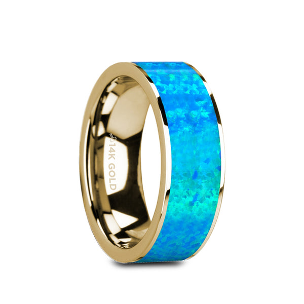 14K Gold flat wedding ring with blue opal inlay and polished finish