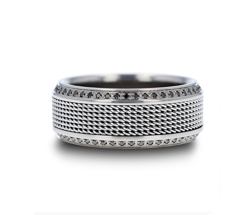 Titanium Wedding Ring with Steel Chain Inlay and set with Black Diamonds