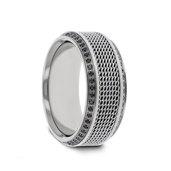 Titanium wedding ring with steel chain inlay set with round black diamonds and polished beveled edges