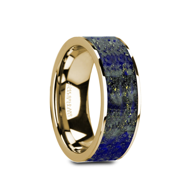 14K Gold flat men's wedding ring with blue lapis lazuli inlay and polished finish