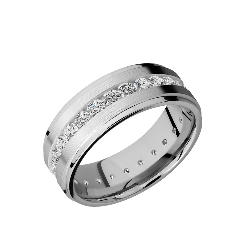 Platinum men's wedding band with an eternity of .07 or .05 carat lab grown diamonds featuring a satin finish.