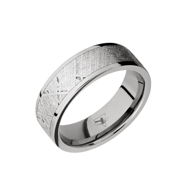 Titanium men's wedding band with 5mm of meteorite inlay and flat or beveled polished edges