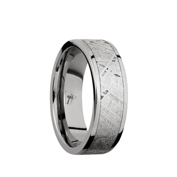 Titanium men's wedding band with 5mm of meteorite inlay and flat polished edges.