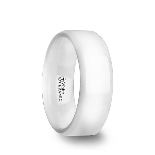 White Ceramic men's wedding ring with polished finished and beveled edges