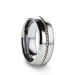 Tungsten domed men's wedding ring with braided 14K gold inlay and polished finish