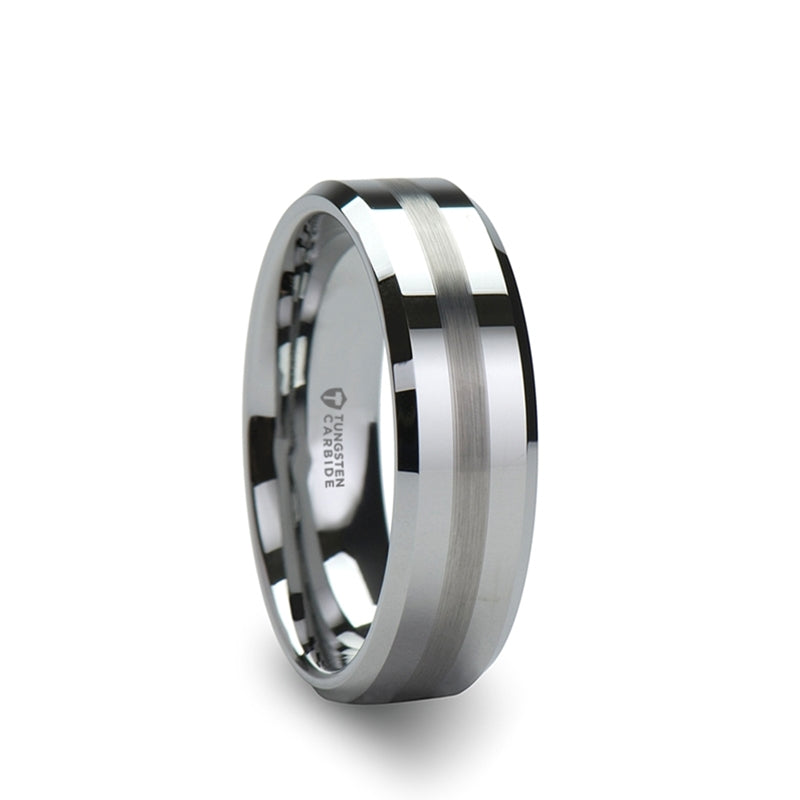 Tungsten wedding ring with beveled edges and a brushed stripe