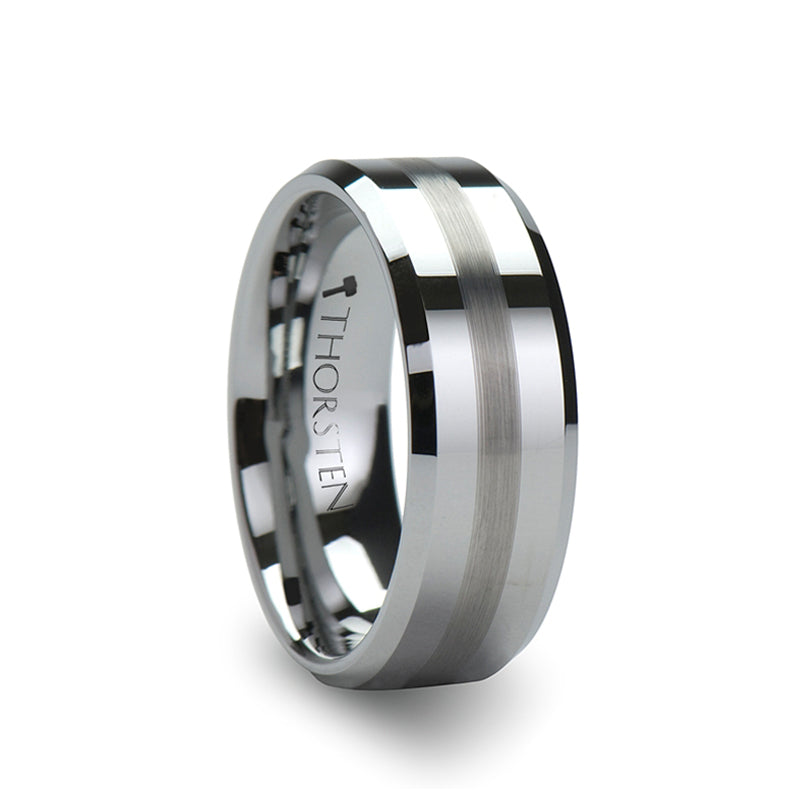 Tungsten men's wedding ring with a brushed stripe and beveled edges