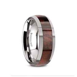 Tungsten Carbide domed men's wedding band with redwood inlay and polished finish