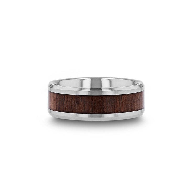 Tungsten Carbide polished finish men's wedding band with black walnut wood inlay