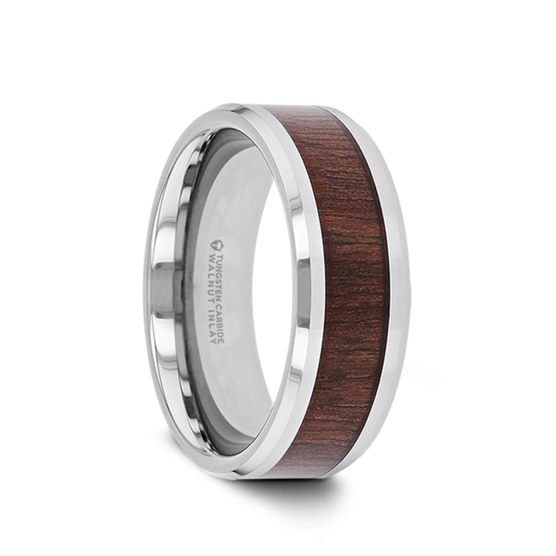 Tungsten Carbide men's wedding band with black walnut wood inlay and polished finish