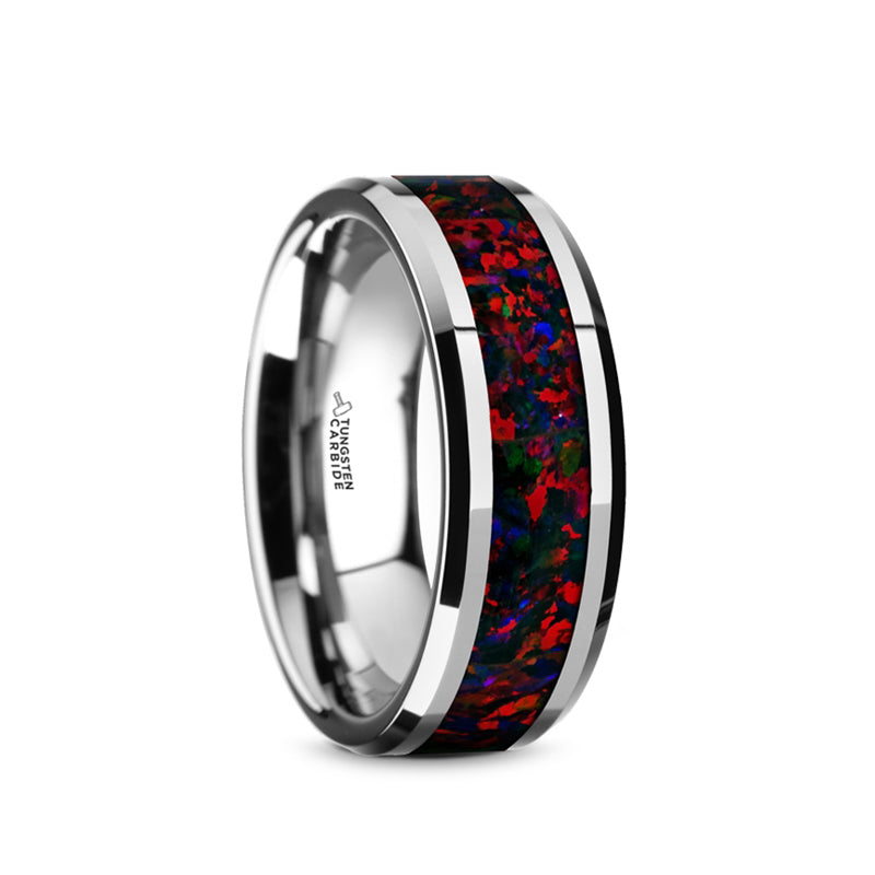 Tungsten wedding band with black and red opal inlay and beveled edges