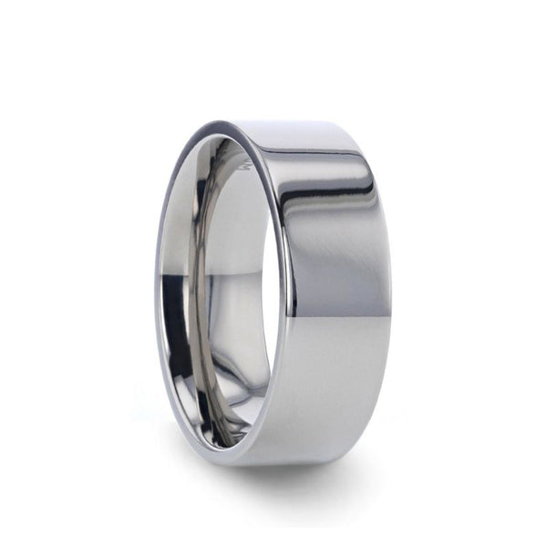 Titanium flat wedding ring with polished finish.