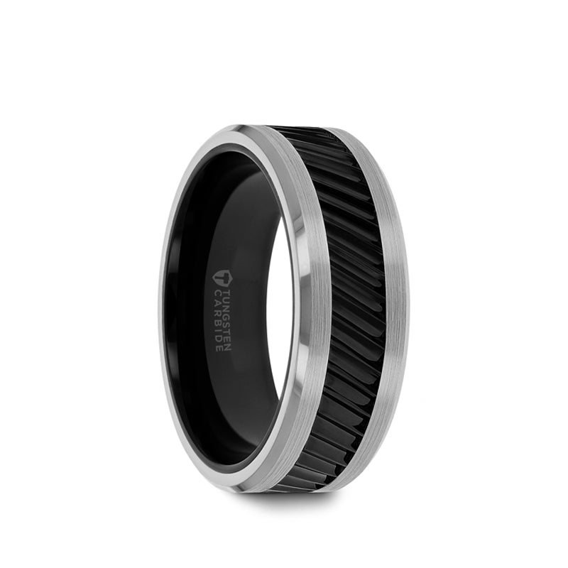 Black Ceramic and Tungsten men's wedding ring with gear teeth pattern and polished finish