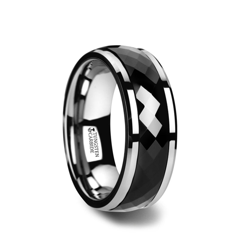 Tungsten men's spinner wedding ring with diamond faceted, black, ceramic center and beveled edges.