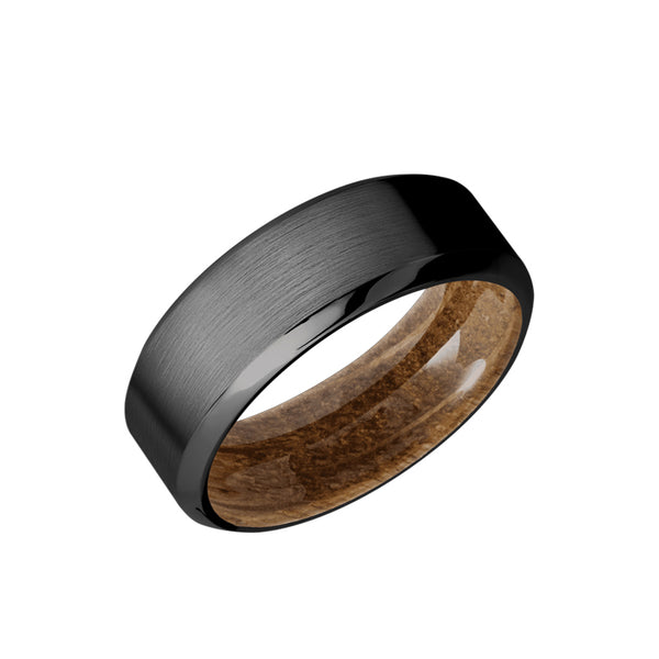 Black Zirconium men's wedding band with beveled edges featuring a whiskey barrel sleeve